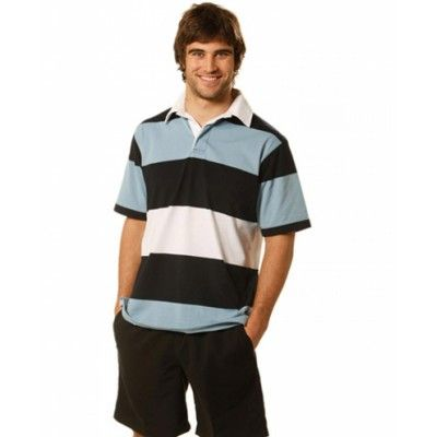 Men's Short Sleeve 3 Tone Rugby Top (RB05_win)
