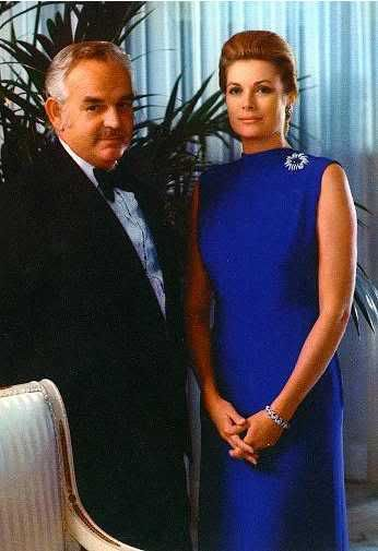 The Grimaldis in Dallas Texas. Princess Grace lovely in blue.