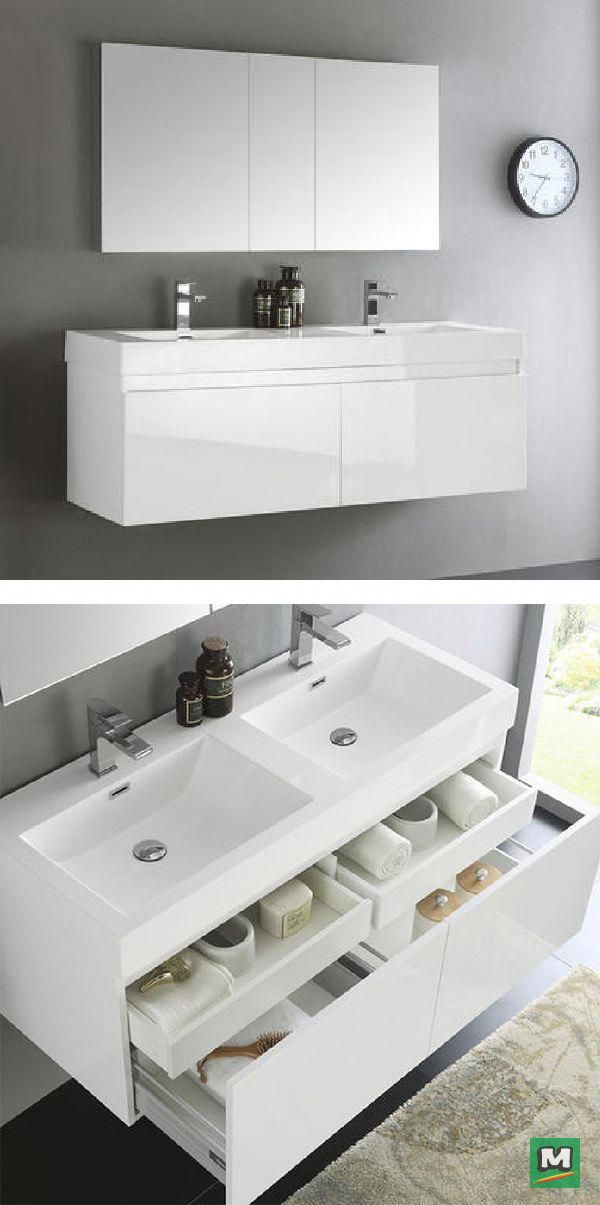 The Fresca Mezzo Line Features A Stunning White Double Sink The White Wall Mount Flo Floating Bathroom Vanities Bathroom Vanity Drawers Modern Bathroom Vanity