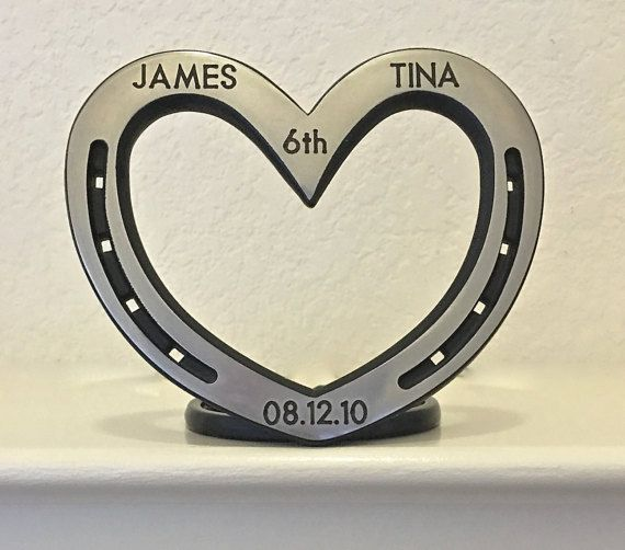 Standing heart personalized horseshoe steel by BlacksmithCreations