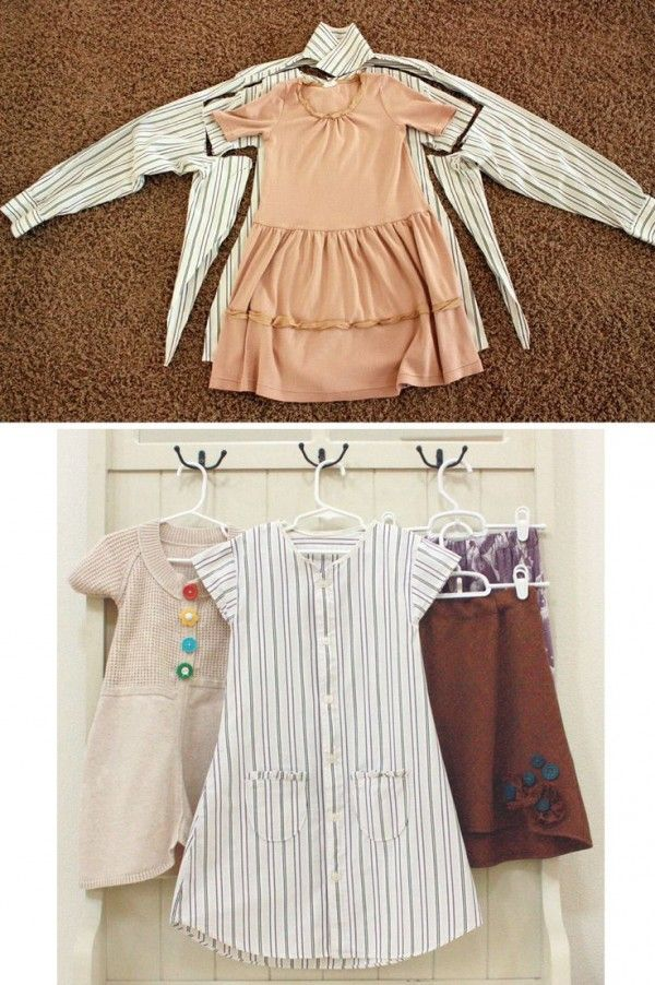 Turn one of Daddy's Shirts Into A Dress For A Little Girl