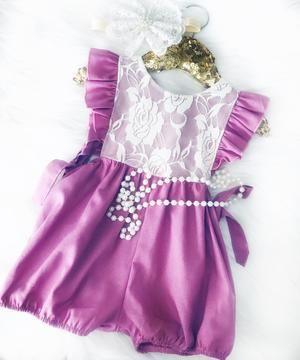 f47ac37da78 Baby Girls Elizabeth Plum Lace Ruffled Cap Sleeve Baby Romper Jumper Our  sweet Elizabeth romper
