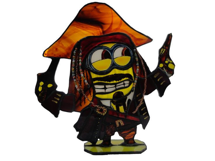 "Stained glass stand ""Minion Captain Jack Sparrow"""