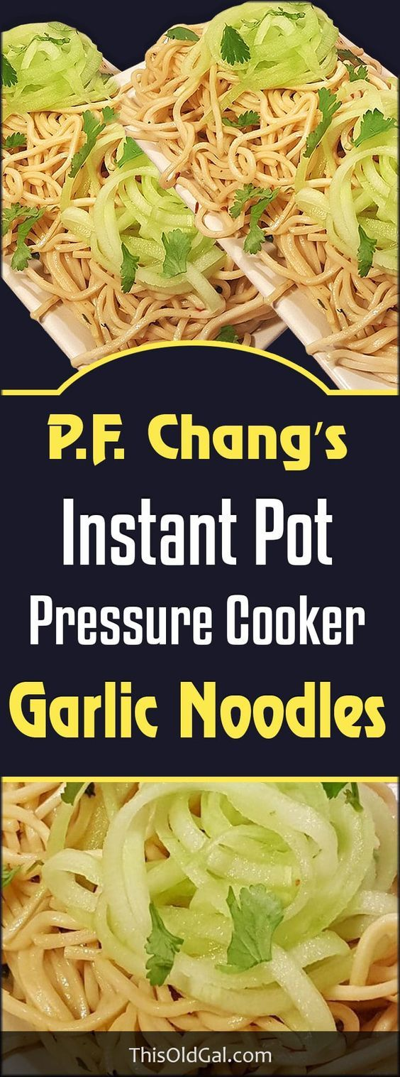 Pressure Cooker P.F. Chang's Garlic Noodles copycat recipe takes only a few minutes at a fraction of the cost and feeds the whole family. via @thisoldgalcooks