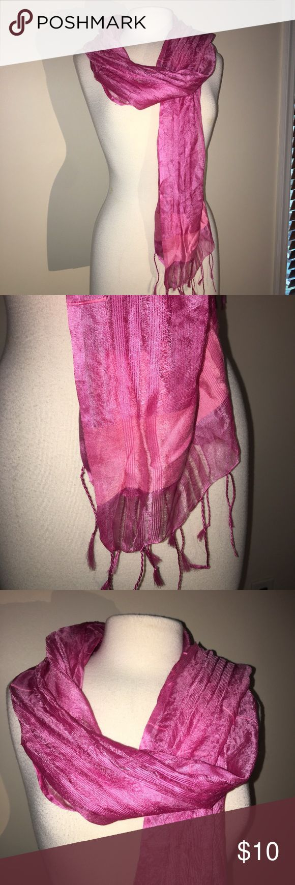 "World Market Pink Silk Fringed scarf World Market Pink Ling scarf 80% silk, 20% rayon Braided fringe at ends Measures 67"" X 20"" (fringe not in measurement) In my drawer for quite a few years and never worn Smoke free home New without tags This closet does not trade world market Accessories Scarves & Wraps"
