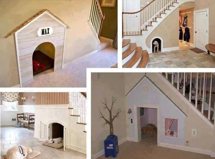 Coolest idea for a dog house inside your house that I've ever seen.