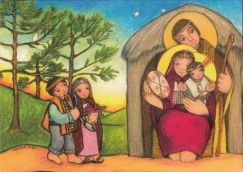 Sagrada familia en ruca mapuche (Monjas Trapenses de Quilvo, Chile)