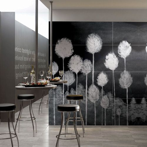 """A feature wall created using """"DANDELION"""" ART Collection porcelain tiles by Porcel-Thin give this trendy bar a really cool feel"""