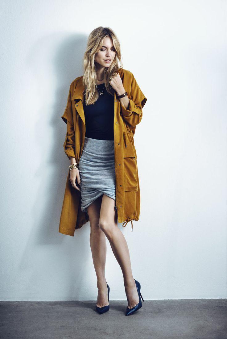 Y.A.S Forrest SS parka coat, Angel bodystocking, Twisty block skirt #yasapparel