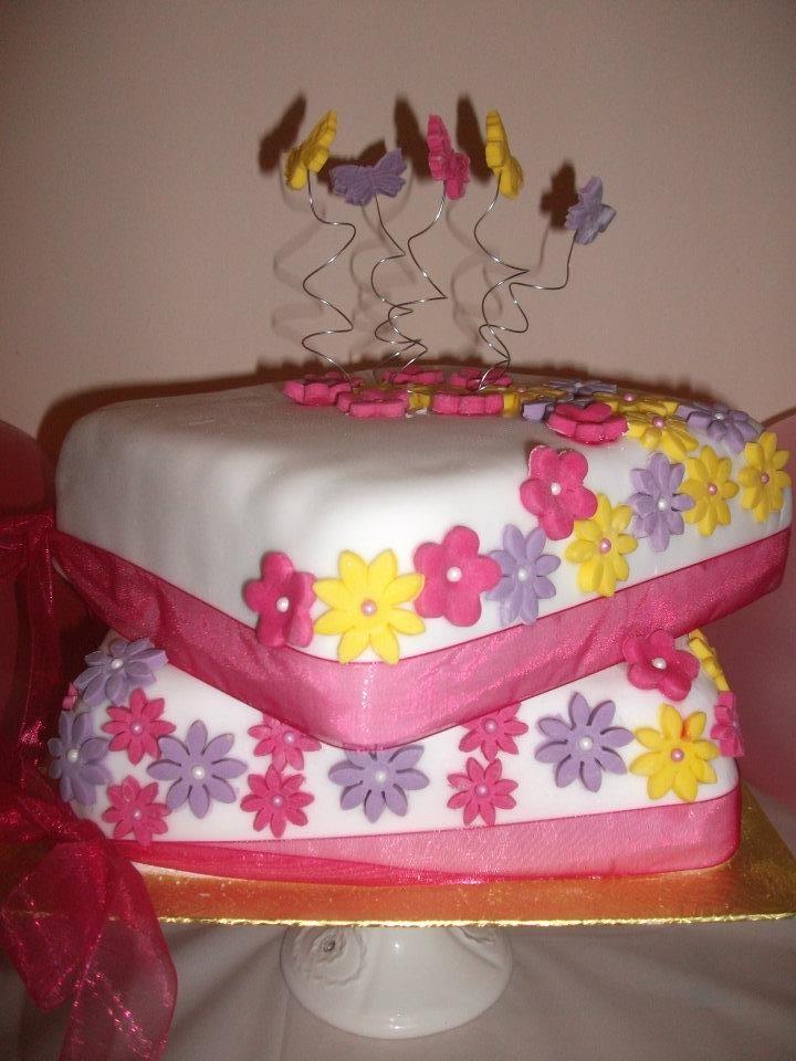 2 tier fruit cake flowers/butterflies