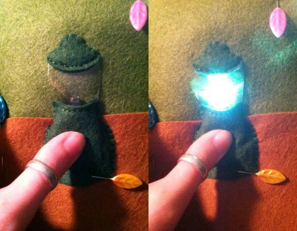 working LED lantern in quiet book pages