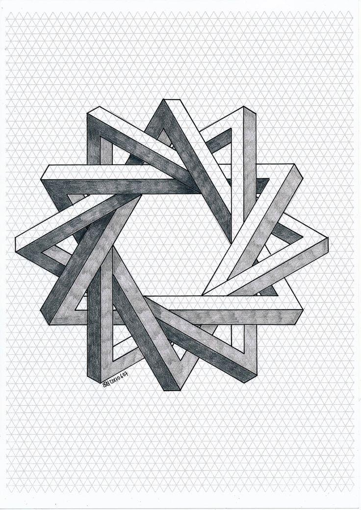 #impossible #isometric #geometry #symmetry #pattern #penrose #triangle #opricalillusion #oscareutersvärd #escher #mathart #regolo54