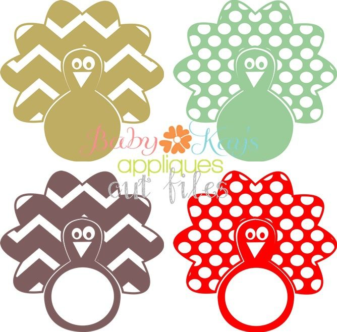 Chevron and Dots Turkey Set 4 designs Cut File - These turkey designs are perfect for Thanksgiving or Fall projects. Use on shirts or home decor. Add a monogram in the center for a cut finished look!
