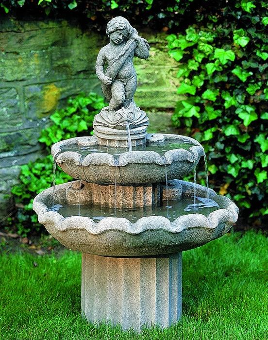 Amalfi Two Tier Fountain Classic Campania Cast Stone Fountain
