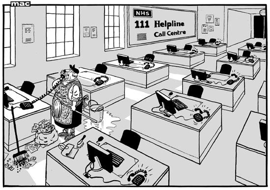 30 July 2013 - NHS helpline is unsafe - here the cleaning lady answers a call.