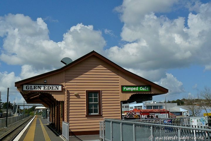 """A typical old style railway station, now the """"Pumped"""" Café - Glen Eden"""