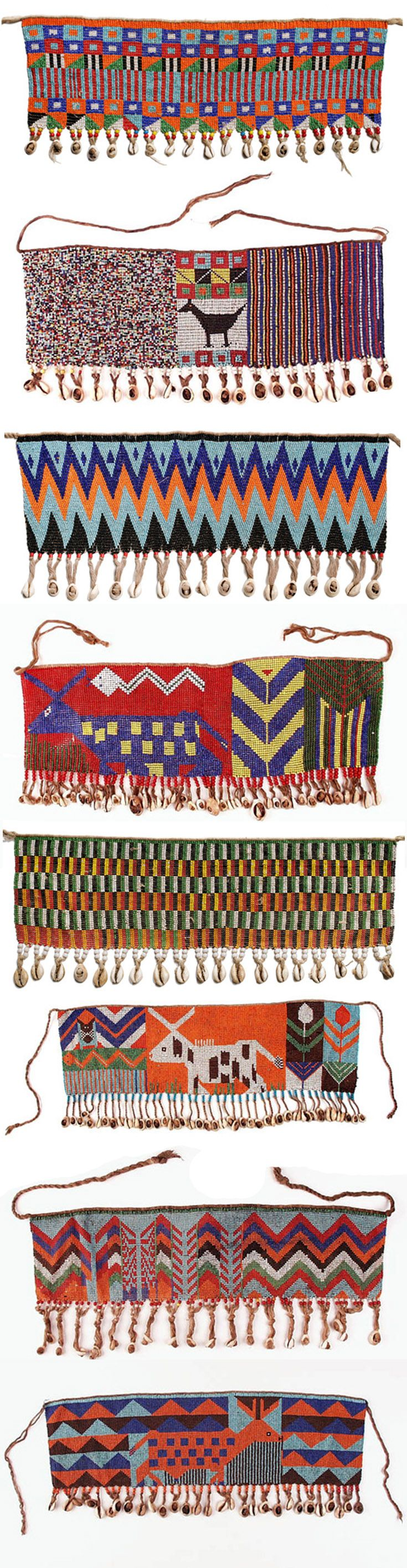 Africa | Women aprons (cache-sexe) from the Kirdi people of Northern Cameroon | Glass beads, cowrie shells and fibre | 20th century