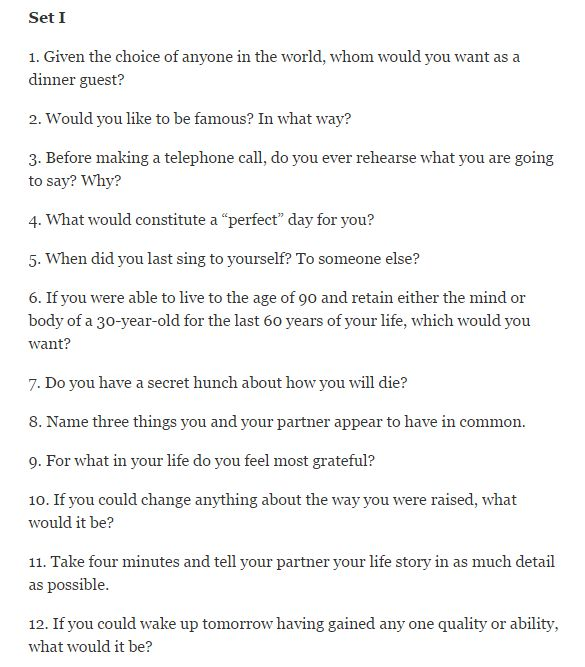 good question for dating Anyway, the questions these dating sites ask are helpful when trying to find a date, and when you're thinking of starting a long-term relationship they bring up the questions you don't think of .
