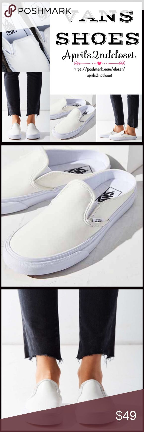 "❗️1-HOUR SALE❗️VANS LEATHER SNEAKER VANS SNEAKERS  * Slip-on & round toe, mule silhouette  * Dual goring at inset  * Genuine leather  * Logo detail  * Non-marking low ballet flat 1"" rubber sole  ****Vans run small, this size 6.5 fits like a size 6 Fabric:Genuine leather & textile, rubber sole  Color: True white Item:p#94400 Ballet flat wedge No Trades ✅ Offers Considered*✅ *Please use the blue 'offer' button to submit an offer. Vans Shoes Sneakers"