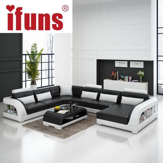 IFUNS Büyük U şekilli kanepe beyaz inek deri kanepe oturma odası kanepe ve…