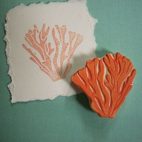 Coral Rubber Stamp Hand Carved by EnchantingStamps on Etsy, $12.00