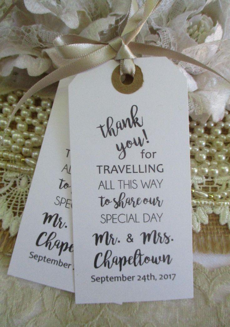 Vielen Dank für Ihre Reise, um unseren besonderen Tag – personalisierte Hochzeitsbevorzugungen – Hochzeit Servietten Krawatten – Kalligraphie Hochzeit Tischdekoration Tags zu teilen   – Andrea's Wedding!