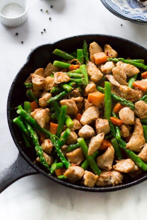 Asparagus Sweet Potato Chicken Skillet http://www.recipes-fitness.com/asparagus-sweet-potato-chicken-skillet/