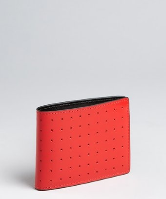 J.Fold red perforated leather 'Superflat Slimfold' wallet | BLUEFLY up to 70% off designer brands at bluefly.com