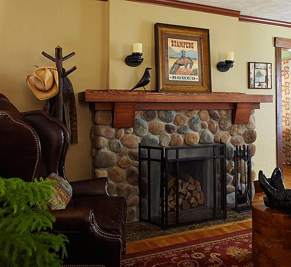 Cover a brick hearth with river rock stone veneer. Transformed to a new relaxed, Northwoods / Western look.