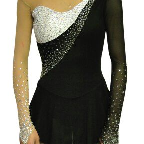 This black and white dress was created for a nationals level skater with a Piano Concerto No. 1 prrogram. The Swarovski rhinestones are crystal, crystal AB  and black diamond. Visit http:// www.sk8gr8designs.com for to more custom figure skating dresses.