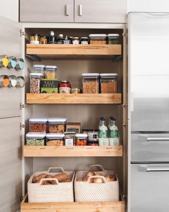 A pantry with roll-out shelves keeps your grocery items super organized, and easily accessible. All of your ingredients will be within sight and reach.