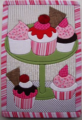 "I can't bake, but I can make cupcakes!!!  QUILTS BY MARISELA with artsi2 Quilt Board.  No sew, quilt wall hanging. Foam Backing. 8""x12""."