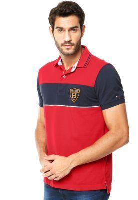 Camisa Polo Tommy Hilfiger Recortes Vermelha