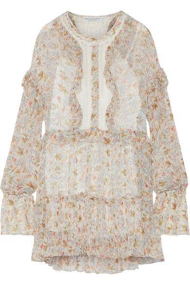 Philosophy di Lorenzo Serafini - Lace-paneled Floral-print Georgette Mini Dress - Cream - IT40