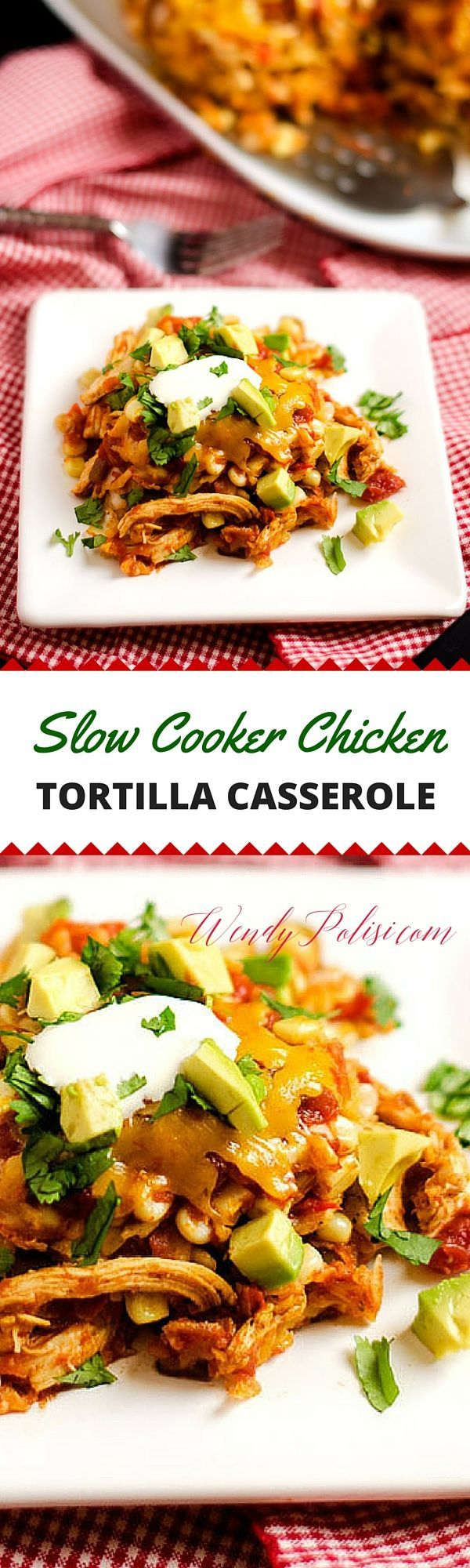 This Slow Cooker Chicken Tortilla Casserole is the perfect weeknight meal solution! With red pepper, corn, chicken, cheese and salsa, this slow cooker meal is one the whole family will love.