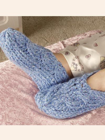Side Cable Slippers Knit Pattern - free membership required