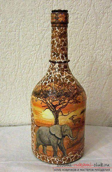Декупаж бутылки в африканском стиле, поделки из скорлупы, как сделать мозаику из скорлупы своими руками, мозаика из яичной скорлупы на стеклянной бутылке, подробный мастер-класс по декорированию бутылки в африканском стиле.. Фото №20