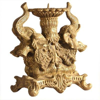 Two Elephant Face Home Decor Brass Statue By Decor Craft God Idols & Statues on Shimply.com