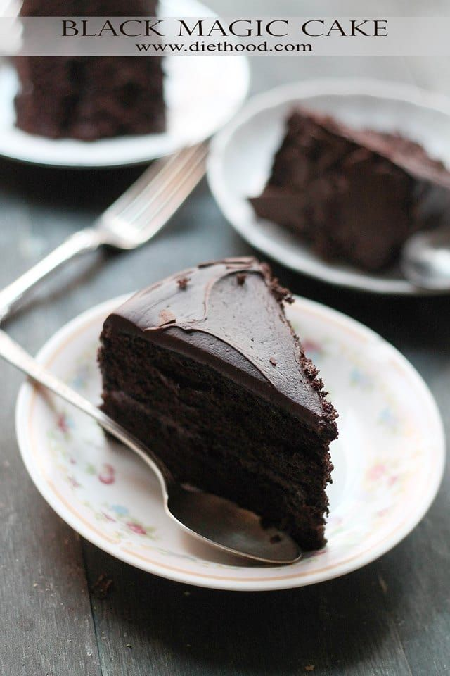 Black Magic Chocolate Cake | www.diethood.com | Moist, rich, and delicious dark chocolate cake perfect for any occasion! | #recipe #chocolatecake #cakerecipe