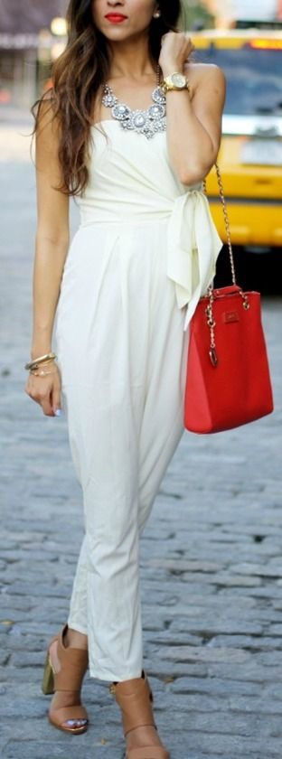 white with red bag. Love this!