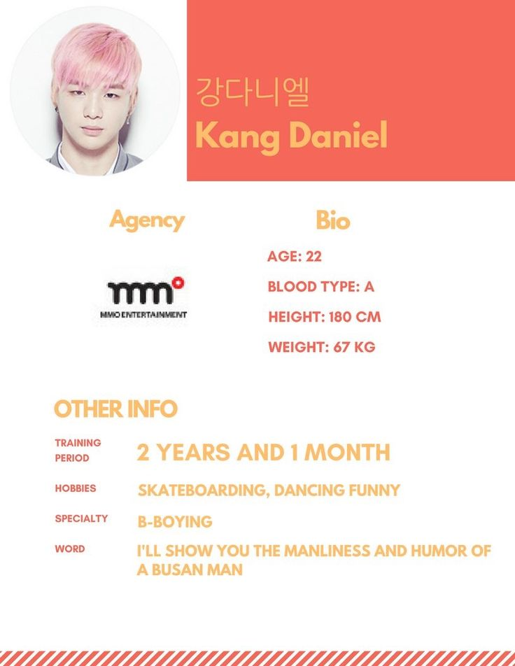Kang Daniel profile #Produce101 [credit; mnet101boys - twitter]