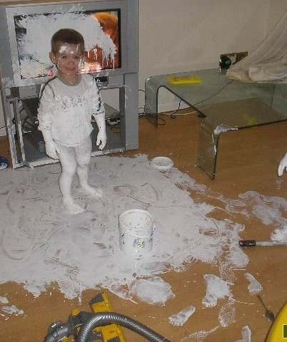 We're glad our kids are encouraged to express their creative side in school, but this is going too far.  TIP: Keep wall paints locked away. And with non-toxic, kid-friendly paint, always put down a spill-mat to prevent stains to your carpet and floors.