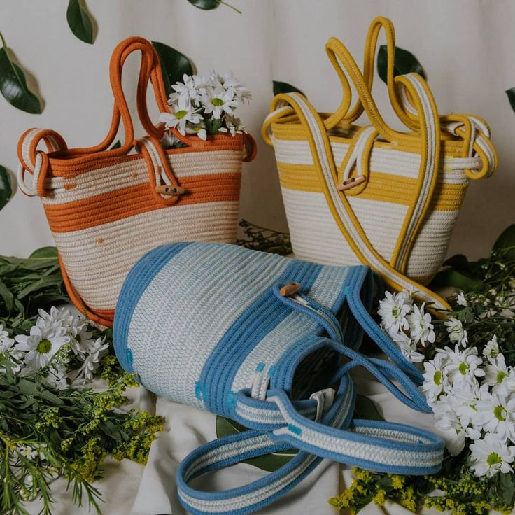 Cotton rope bags by Palmito in happy colours
