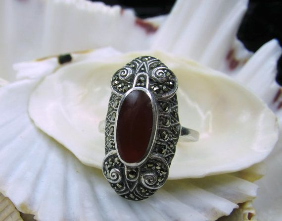 Beautiful without being flashy, perfect for the office Sterling Silver Marcasite Carnelian Ring  EverythingIOwn http://etsy.me/103rR07 @Etsy
