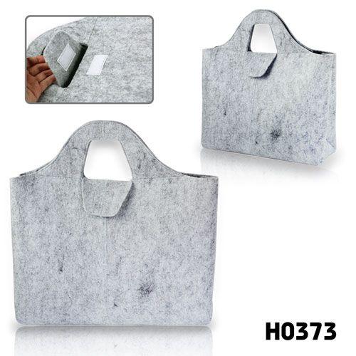 grey felt tote bag