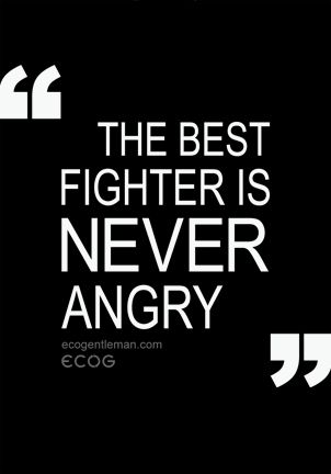 "Ancient Chinese Quote by Lao Tzu ""The best fighter is never angry""."