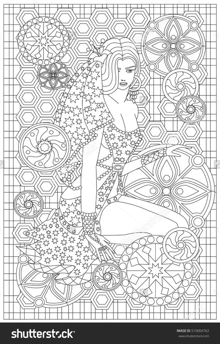 Stress less coloring by the shore - Coloring Anti Stress Image Of A Girl With A Mandala Elements