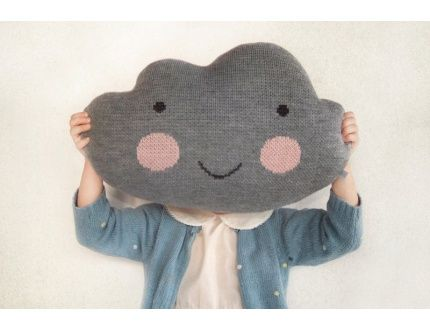 Knitted Cloud Pillow Grey