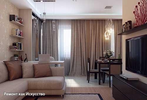Дизайн однокомнатной квартиры в хрущевке: пример удобной планировки  Однокомнатная квартира в хрущевке всегда кажется тесной и вызывает желание как-то расширить пространство. Предлагаем вам хороший пример дизайна однокомнатной квартиры с удобной кухней, достаточно большим санузлом, нормальным коридором, маленькой спаленкой, кабинетом и местом для отдыха. Не верите, что все это однокомнатная хрущевка? Смотрите подробный дизайн в фото и порадуйтесь за хозяев!  Основные цвета в этой квартире…