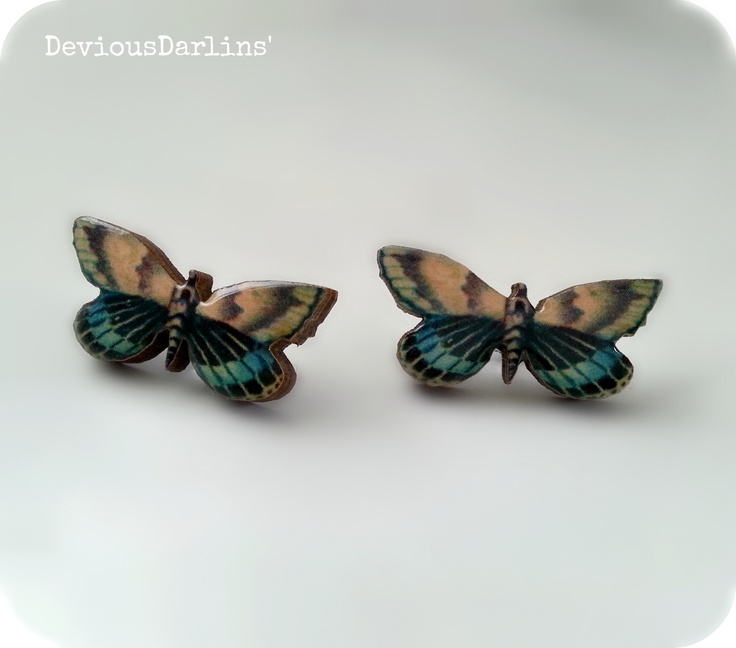 Butterfly Earrings.. Resin covered image on laser cut wood <3